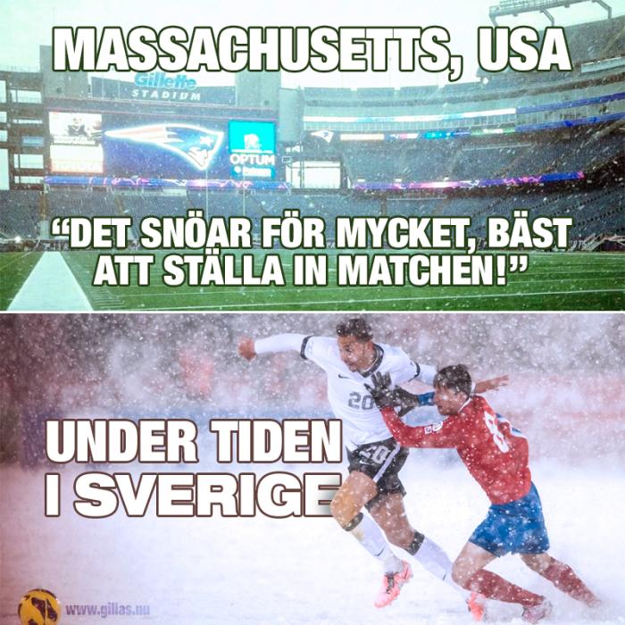 Amerikaner och svenskar ser lite olika på det här med snö