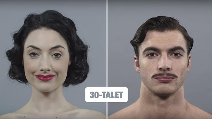 100 års utveckling av frisyrer och ansiktsbehåring i välgjord video!