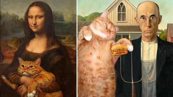 Tjugoen klassiska mästerverk som förbättrats med en katt i motivet