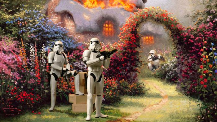 Sju ganska tråkiga konstverk som förbättrats med karaktärer från Star Wars