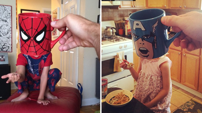 Kreativ pappa skapar superhjältar av hans barn med hjälp av kaffekoppar