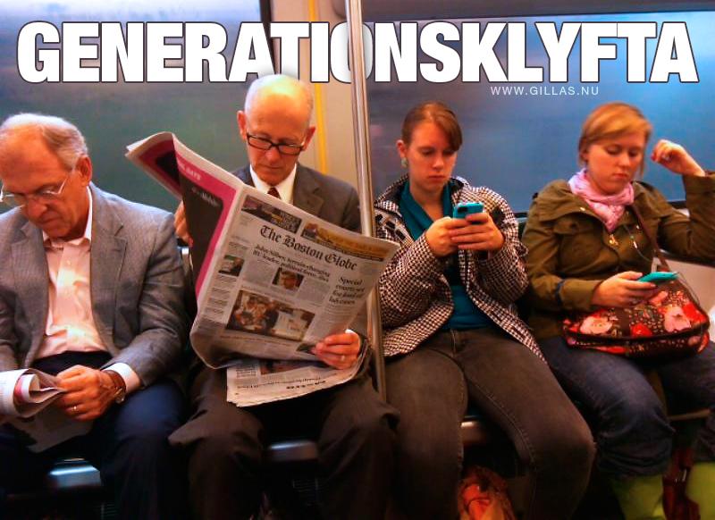 Äldre läser tidningar och yngre tittar på mobilen - Generationsklyfta