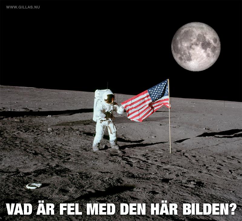 Man på månen - vad är fel med den här bilden?