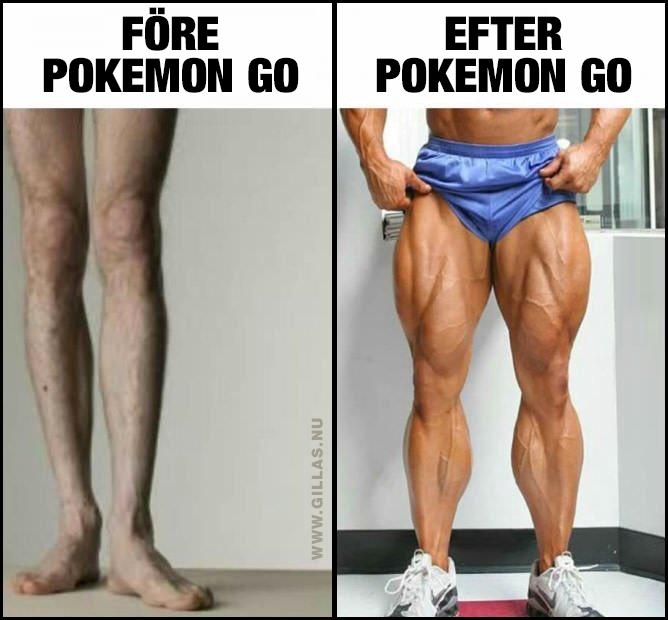 Otränade ben och otroligt vältränade ben - Före och efter Pokemon GO