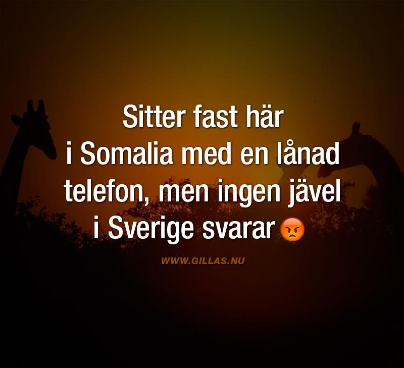 Roligt citat - Sitter fast här i Somalia med en lånad telefon, men ingen jävel i Sverige svarar