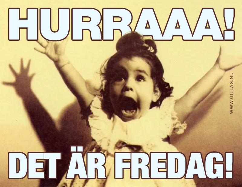 Glatt barn jublar - Hurraaa! Det är fredag!
