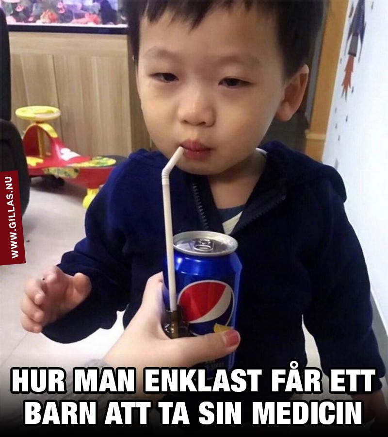 Barn blir lurat att ta sin medicin med hjälp av en burk Pepsi