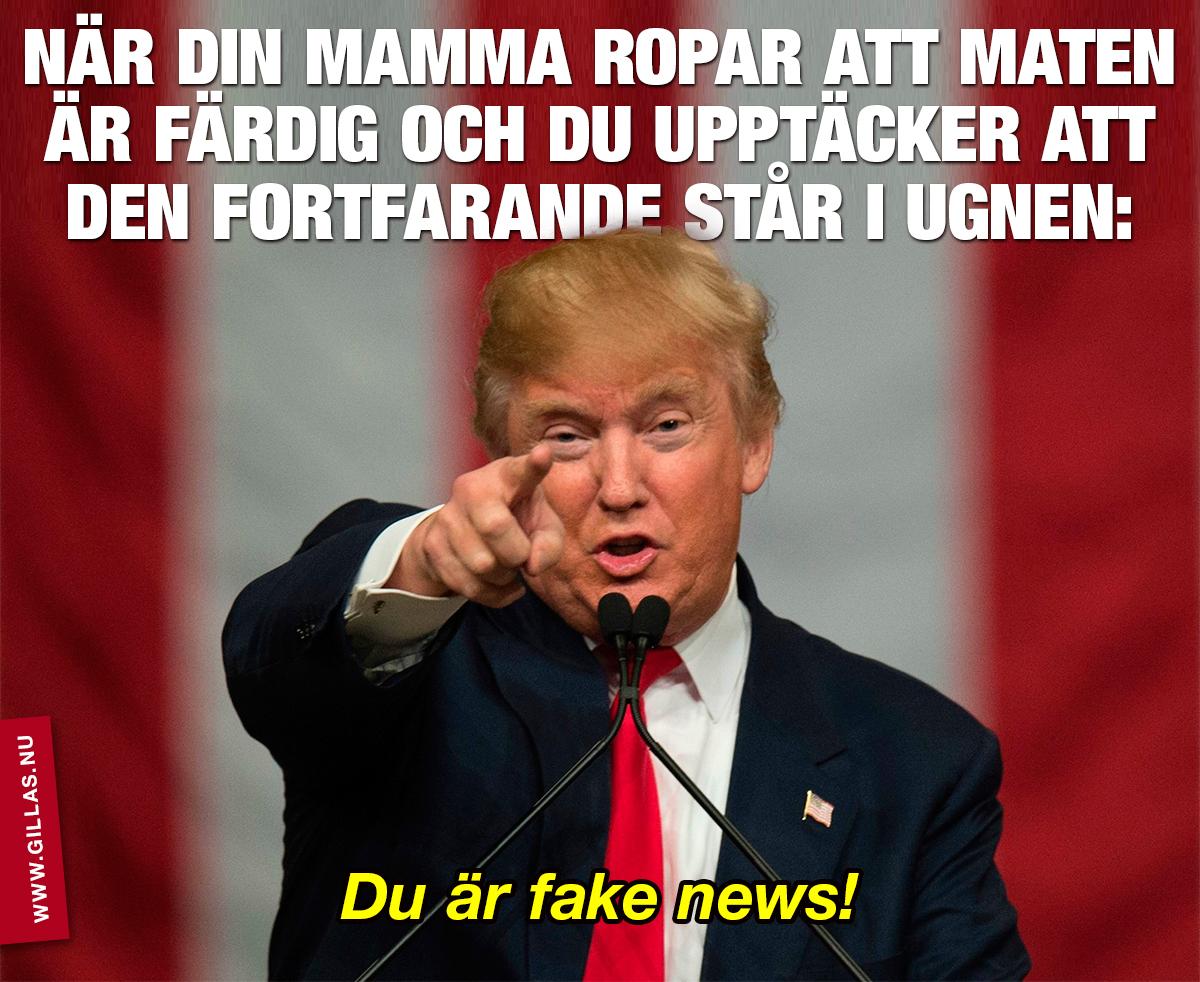 Donald Trump pekar mot kameran