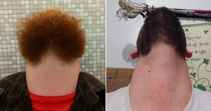 Tjugo underliga bilder på män med skägg som tittar rakt upp