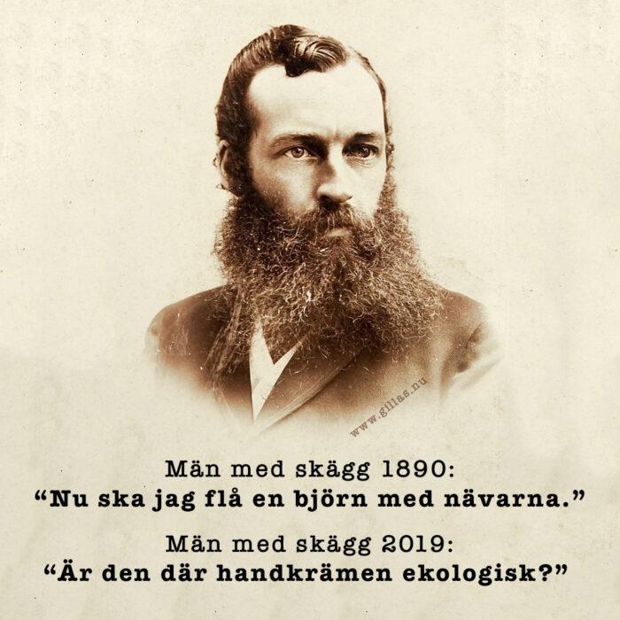 Män med skägg, då och nu