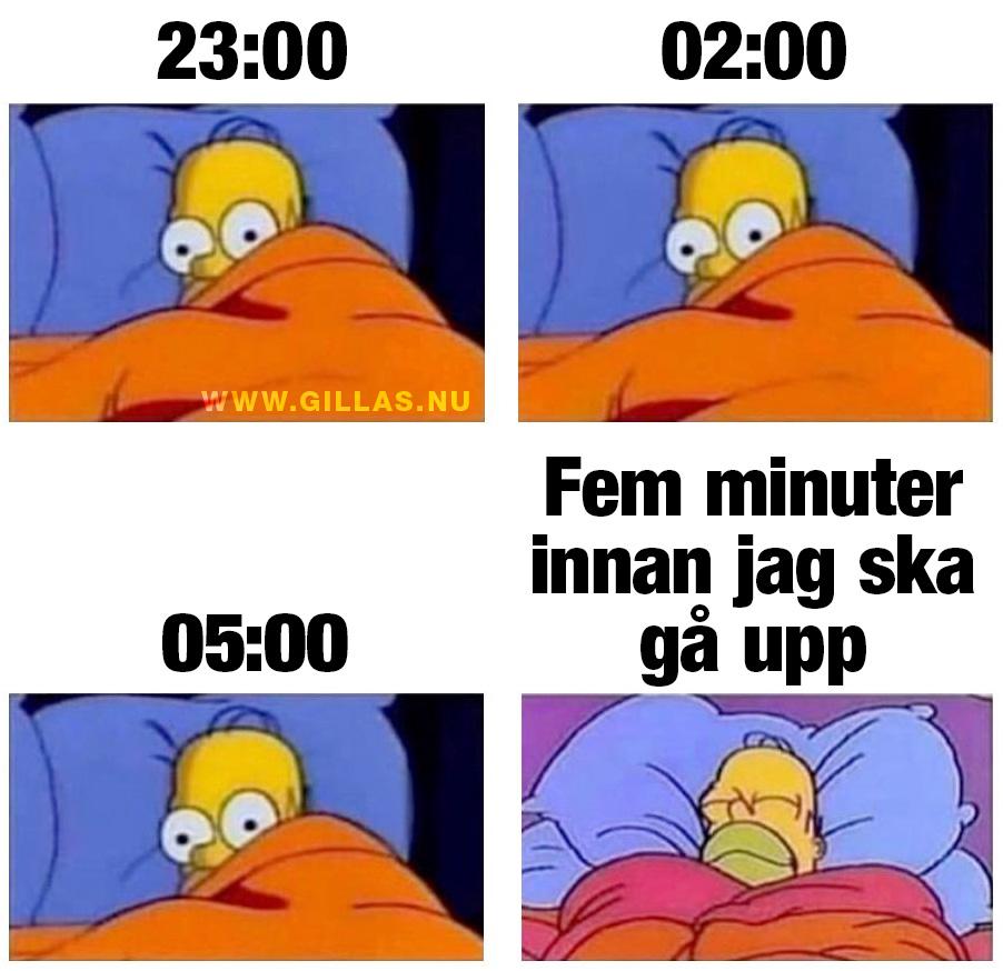 Homer är vaken hela natten fram till när larmet ska ringa