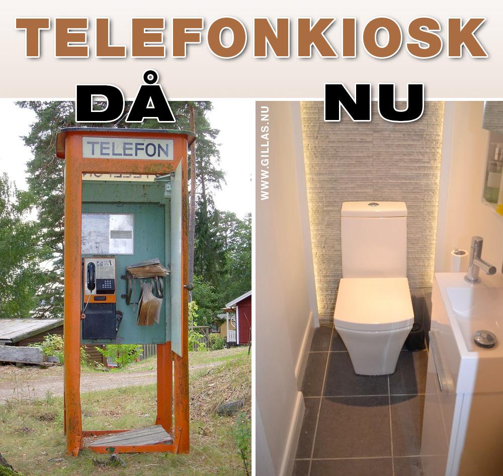 Gammal telefonkiosk och toalett