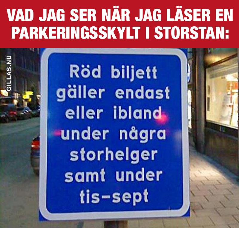 Parkeringsskylt med obegriplig text