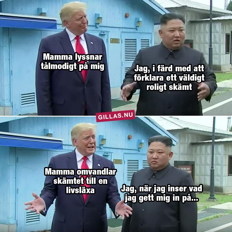 Trump och Kim Jong Un i demilitariserade zonen
