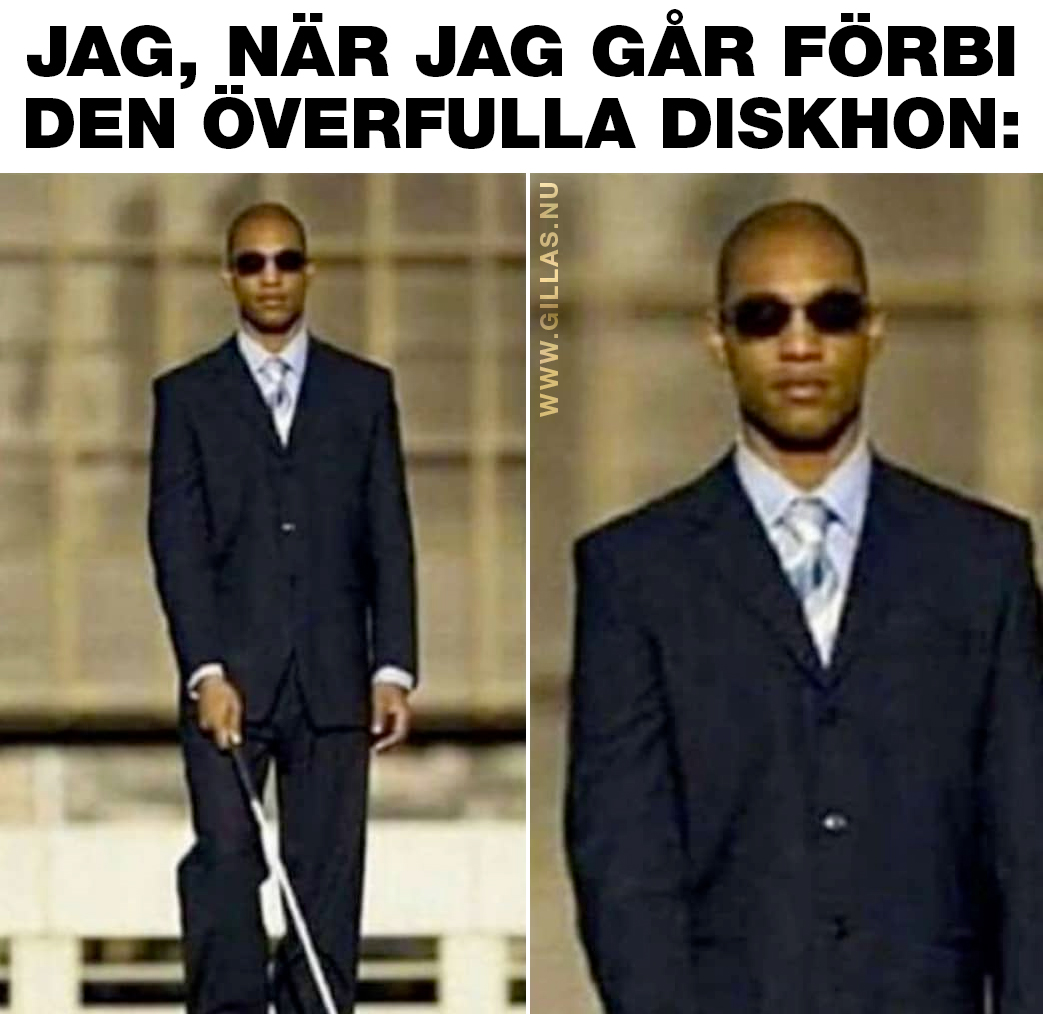 Blind man med käpp